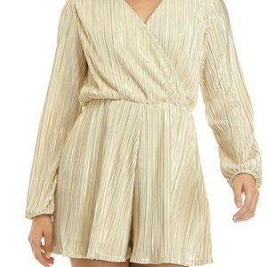 Jolt NWT Junior's Long Sleeve Gold Metallic Romper
